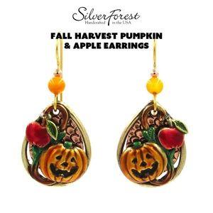 Silver Forest Fall Harvest Pumpkin &Apple Earrings